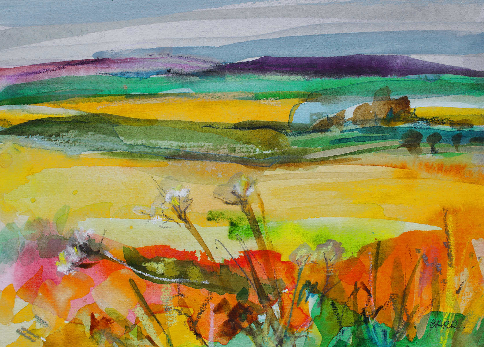 Watercolour landscape Auchnagatt by Shona Barr
