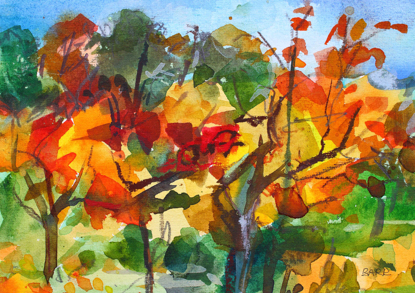 Watercolour titled Autumn Trees by Shona Barr