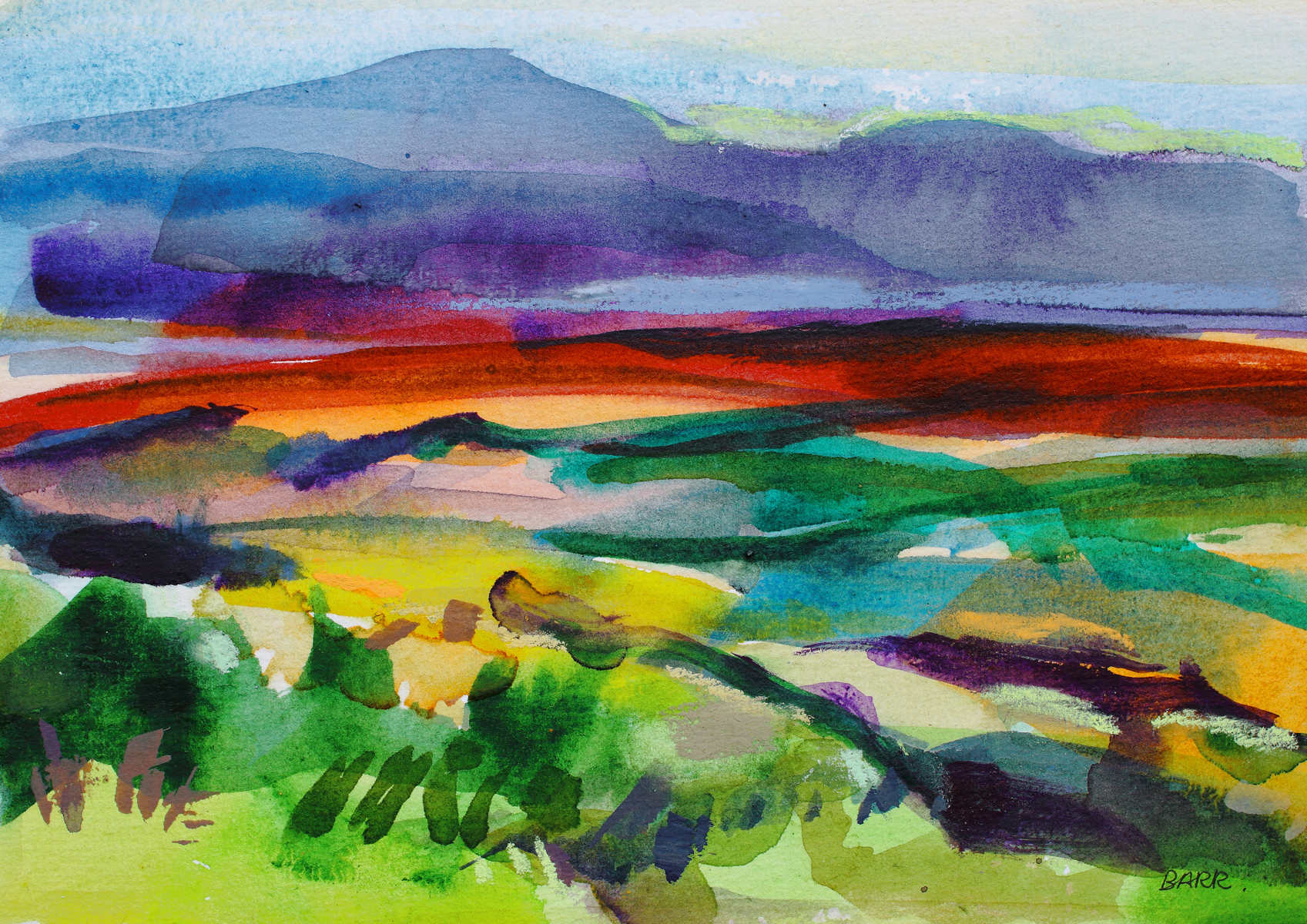 Watercolour titled Blue Hills by Shona Barr