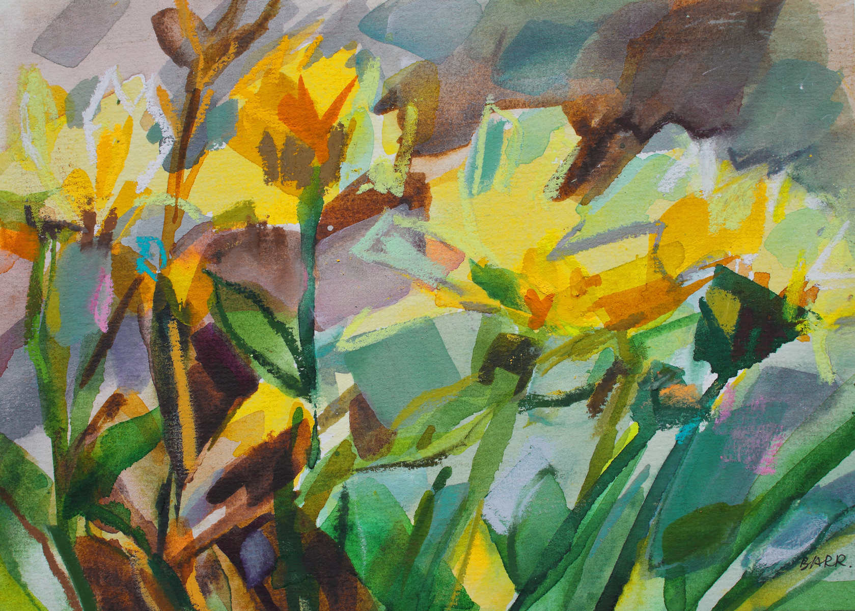 Watercolour titled Laura's Flowers by Shona Barr
