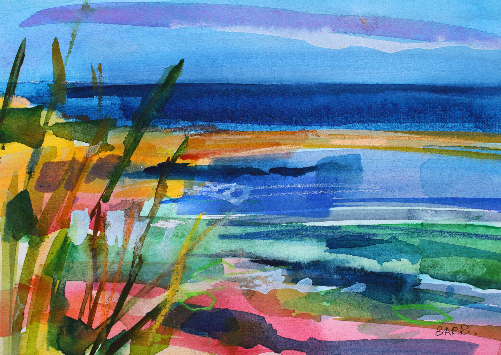 Watercolour titled North East Shore by Shona Barr