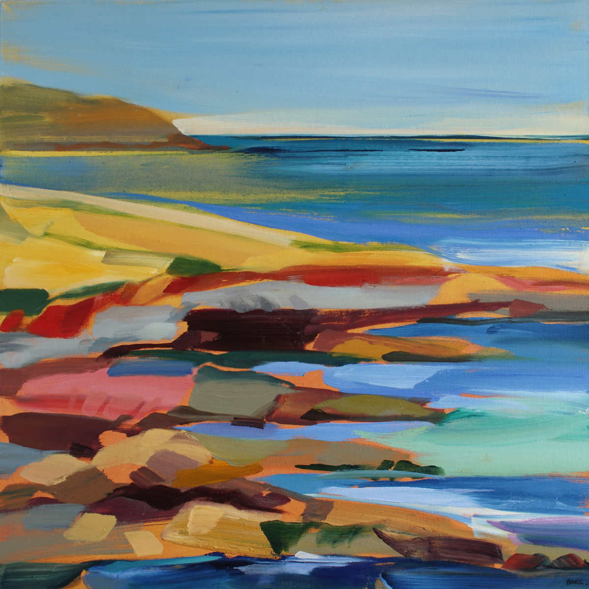 Painting titled 'On Walk by the Sea'