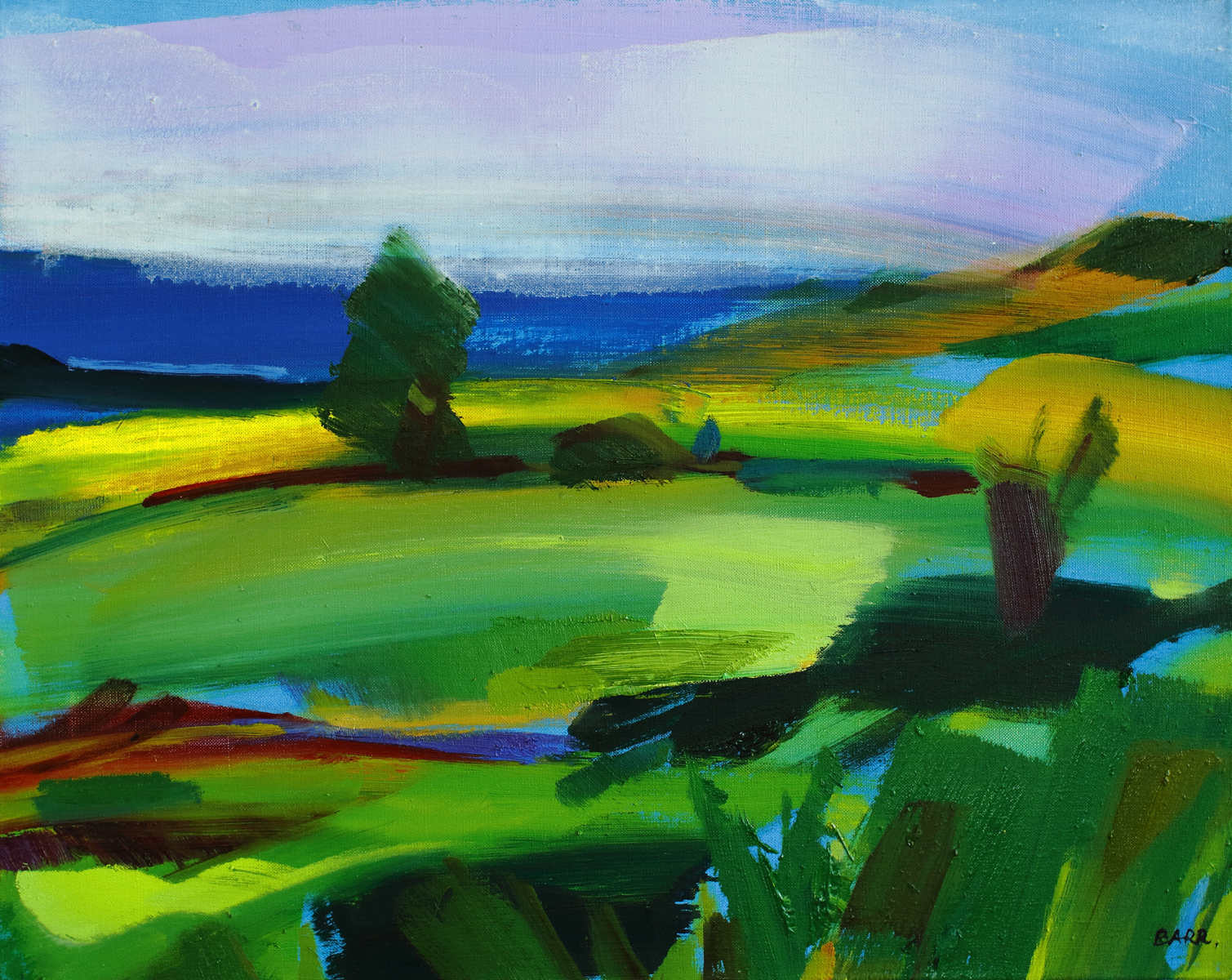 Painting titled The Green and Pleasant Land