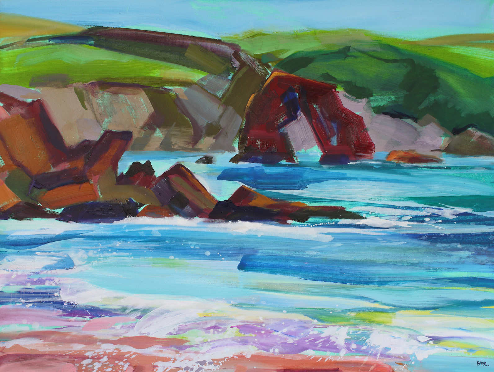 Painting titled Thurlestone Rock Devon