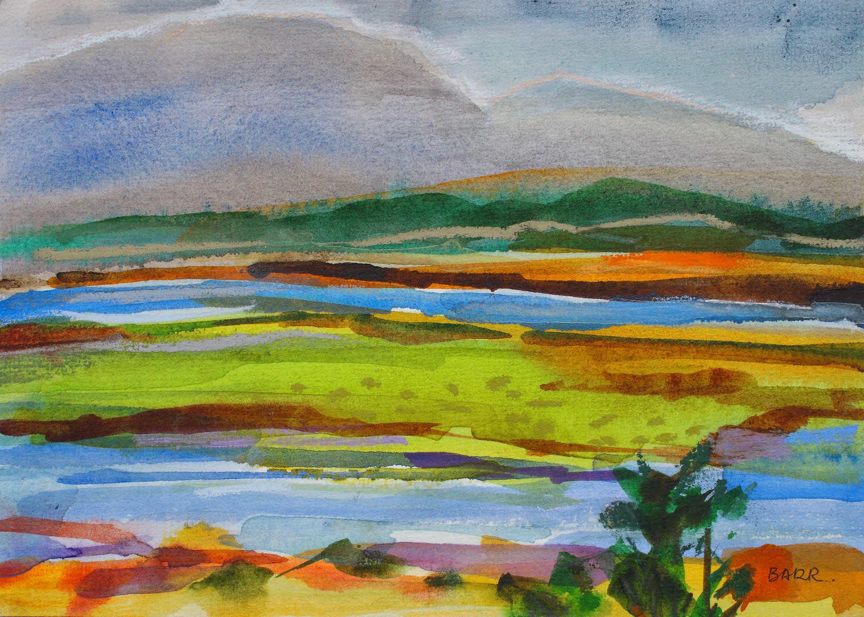 Watercolour landscape titled Wetland by Shona Barr
