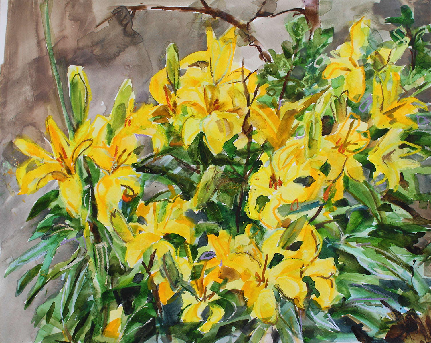 painting of Yellow Lilies 40x50cm Watercolour Mixed Media